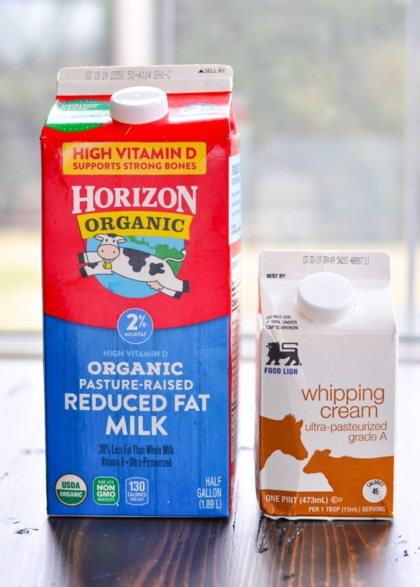 Milk and cream cartons for quiche lorraine