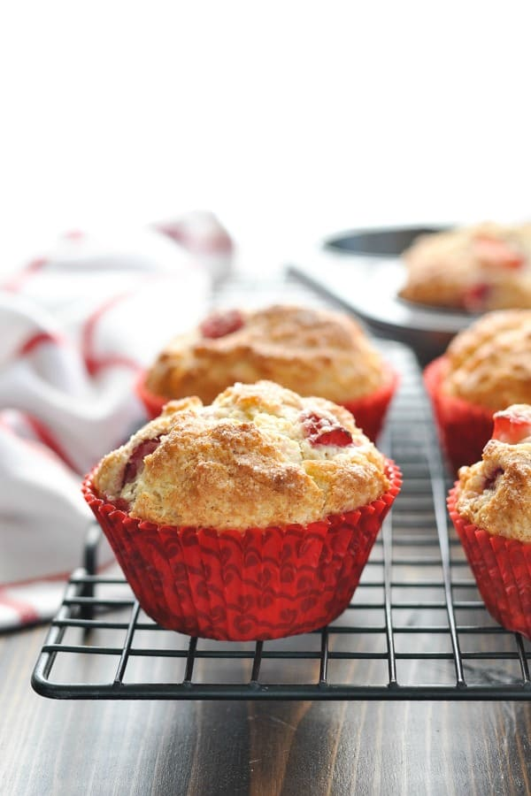 Strawberry muffins on cooling rack