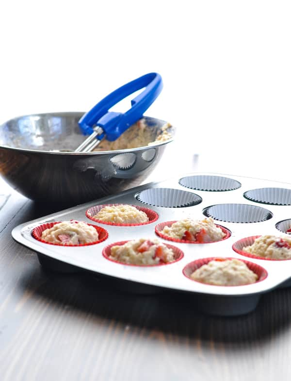 Strawberry muffins in tin before baking