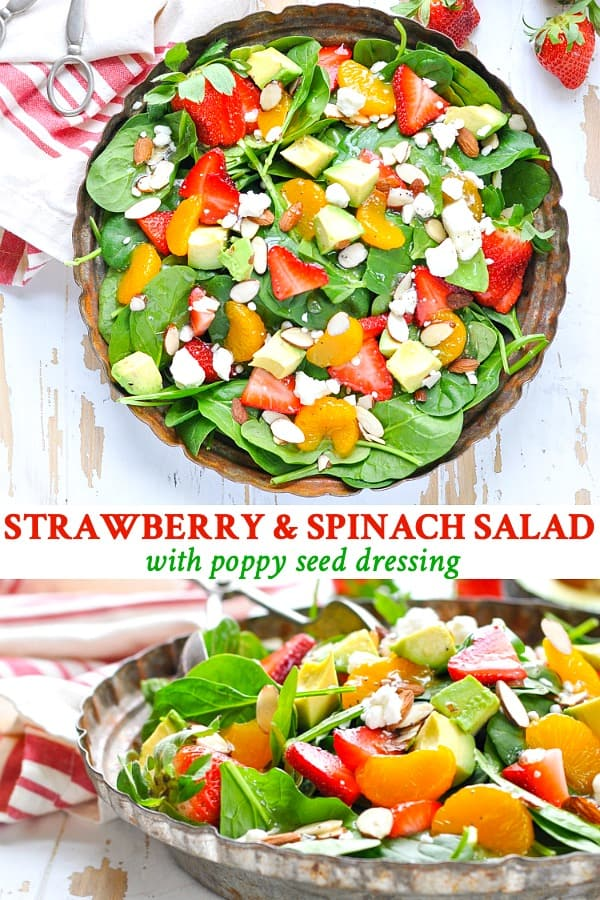 Long collage of Strawberry Spinach Salad with Poppy Seed Dressing