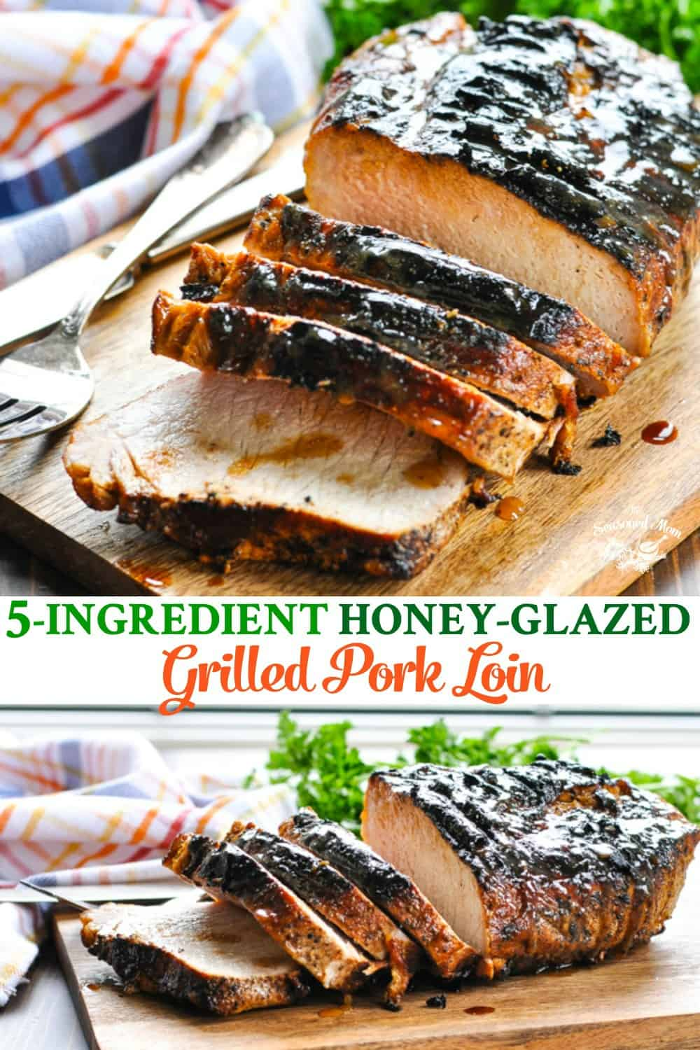 Long collage of 5 ingredient Grilled Pork Loin