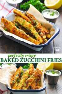 Long collage of Baked Zucchini Fries