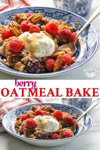 Long collage of Berry Baked Oatmeal