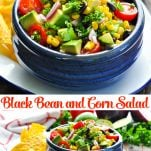 Long collage of Black Bean and Corn Salad recipe