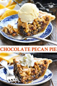 Long collage of Chocolate Pecan Pie