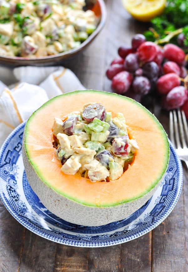 Curried chicken salad inside cantaloupe