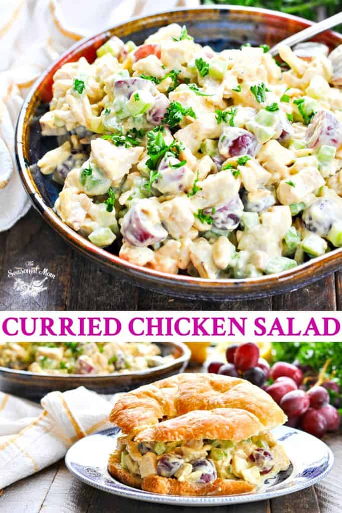 Long collage of curried chicken salad recipe