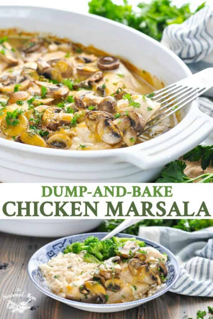 Long collage of Dump and Bake Chicken Marsala Recipe