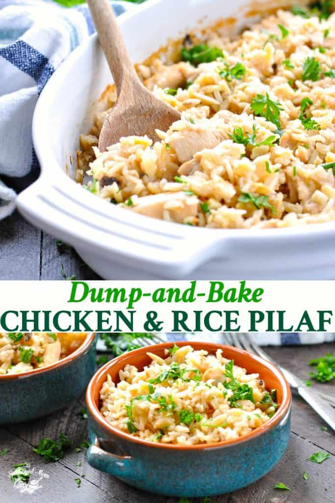 Long collage of Dump and Bake Chicken and Rice Pilaf recipe