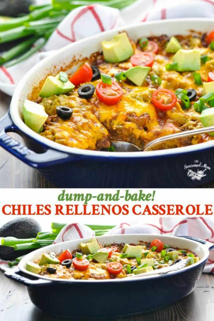 Long collage of layered Chiles Rellenos Casserole with ground beef and cheese