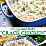Long collage of oven baked or slow cooker crack chicken