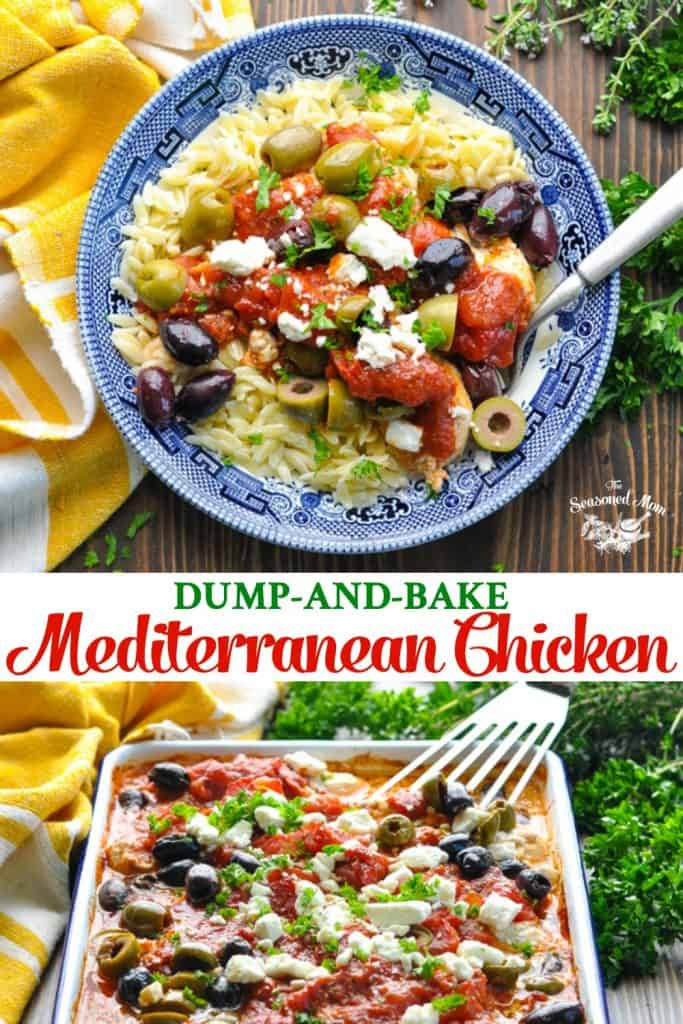 Long collage of Dump and Bake Mediterranean Chicken recipe