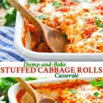 Long collage of stuffed cabbage rolls casserole