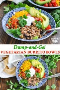 Long collage of vegetarian burrito bowls