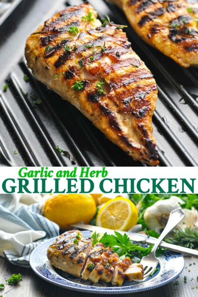 Long collage of Garlic Herb Grilled Chicken Breast