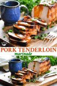 Long collage of pork tenderloin marinade
