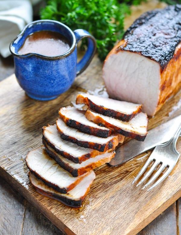Baked or roasted pork tenderloin sliced with marinade