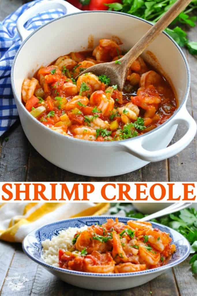 Long collage of Easy Shrimp Creole