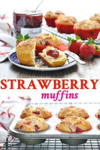 Long collage of Strawberry Muffins