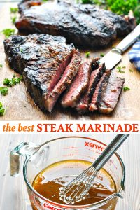 Long collage of the best steak marinade recipe