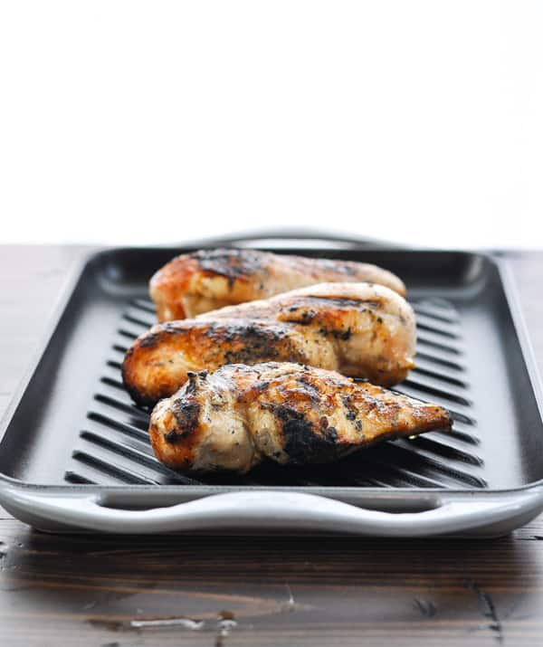 Grilled chicken breasts on a grill pan