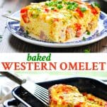Long collage of Baked Western Omelet