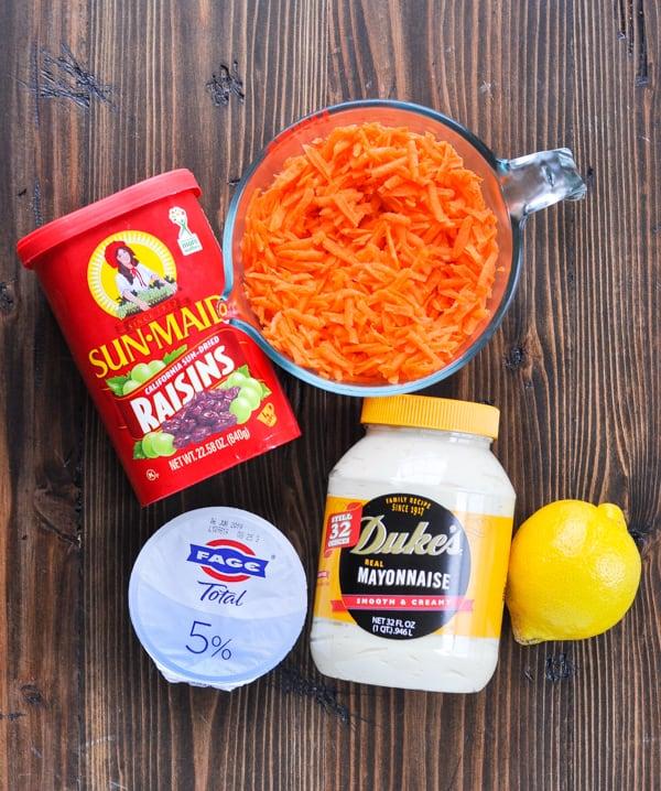 Overhead shot of carrot salad ingredients