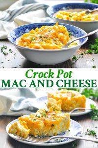 Long collage of crock pot mac and cheese