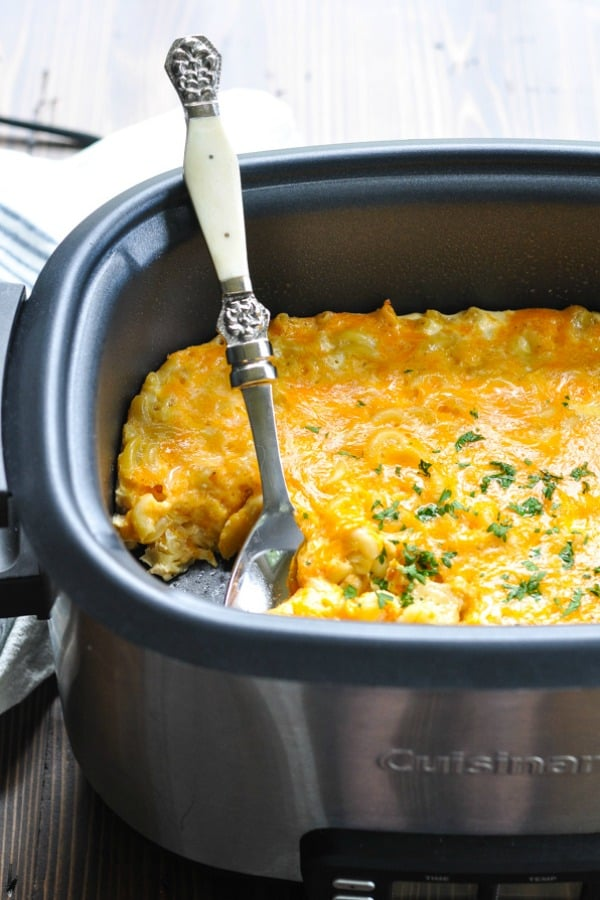 Front shot of macaroni and cheese in a Crock Pot