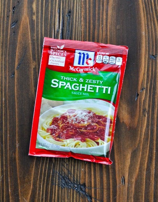 Packet of spaghetti sauce seasoning mix