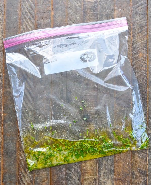 Rosemary chicken marinade in a ziploc bag
