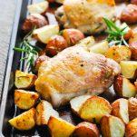 Sheet Pan full of rosemary chicken and crispy potatoes