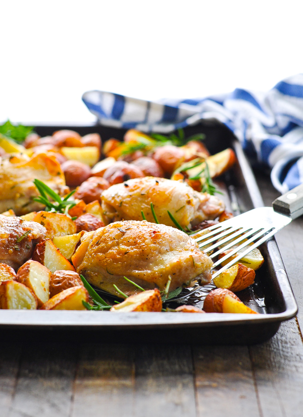 Baked rosemary chicken on a sheet pan