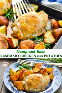 Long collage of Dump and Bake Rosemary Chicken Thighs and Potatoes