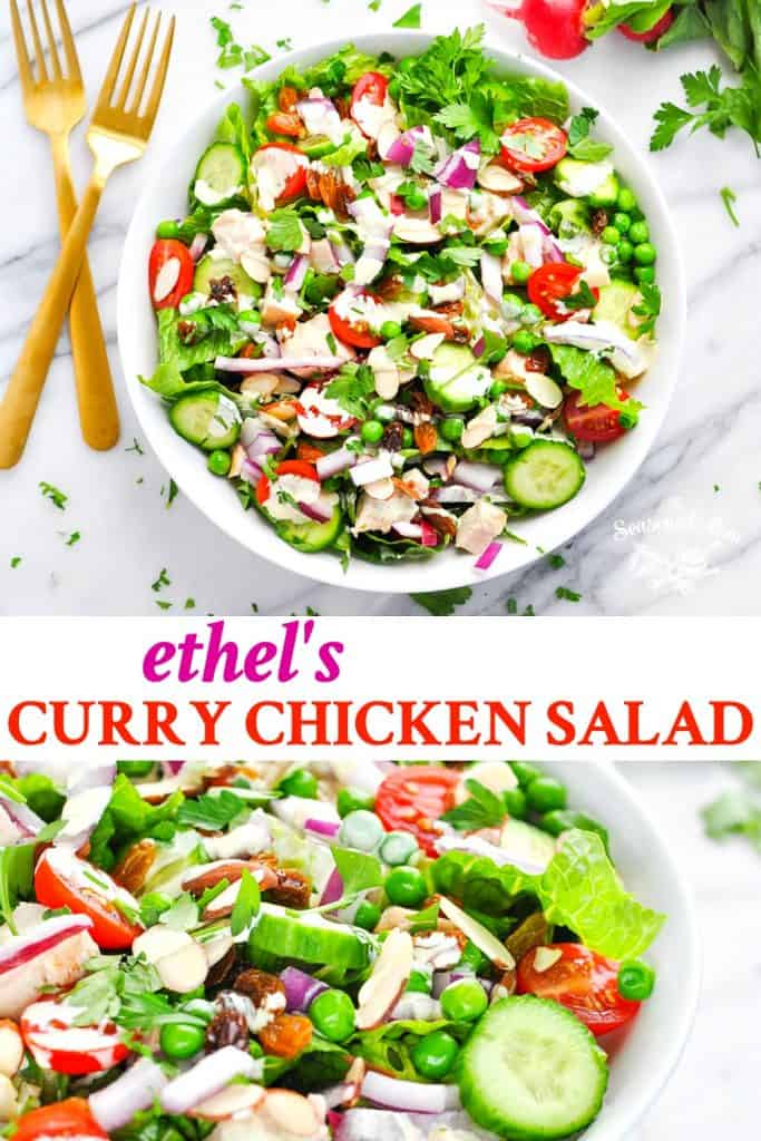 Long collage of Ethel's Curry Chicken Salad recipe