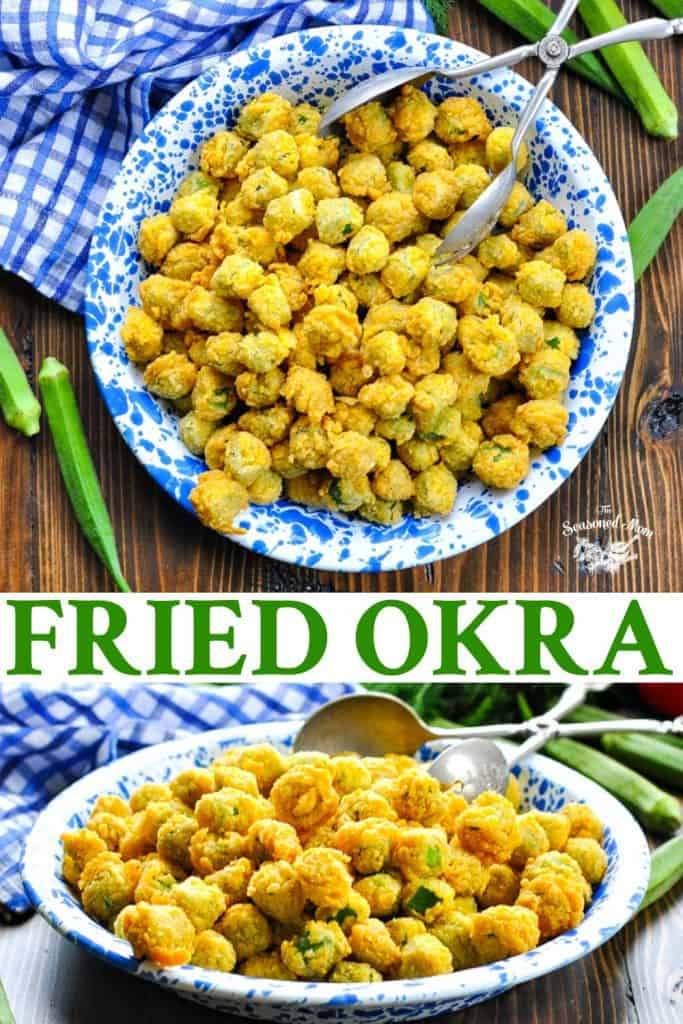 Long collage of Fried Okra recipe