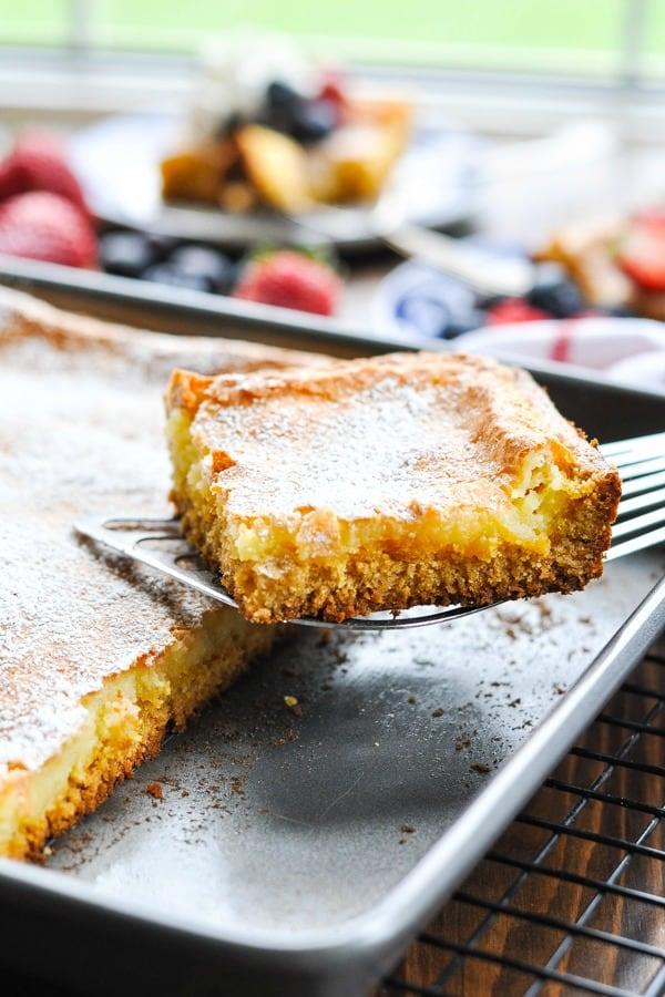 Butter cake slice on a serving spatula