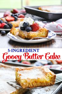 Long collage of easy 5 ingredient recipe for gooey butter cake
