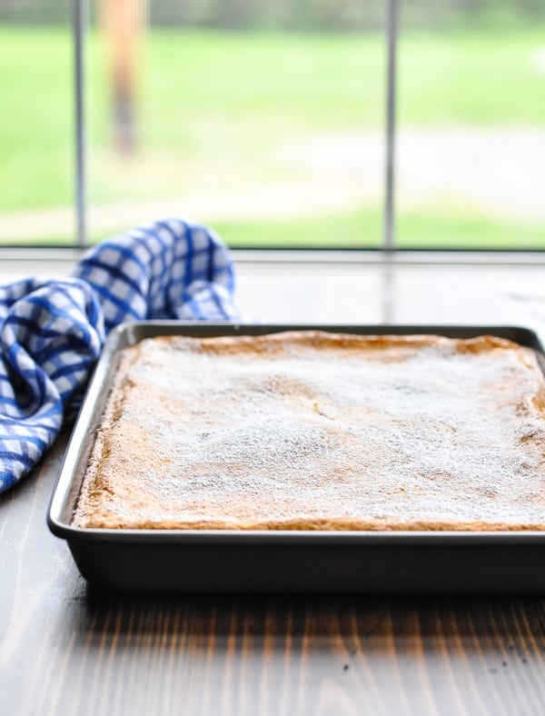 Gooey butter cake in pan just out of the oven dusted with powdered sugar
