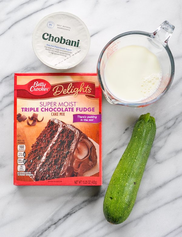 4 ingredients for chocolate zucchini cake