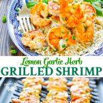 Long collage of Lemon Garlic Herb Grilled Shrimp Recipe