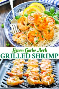 Long collage of Lemon Garlic Herb Grilled Shrimp Recipe