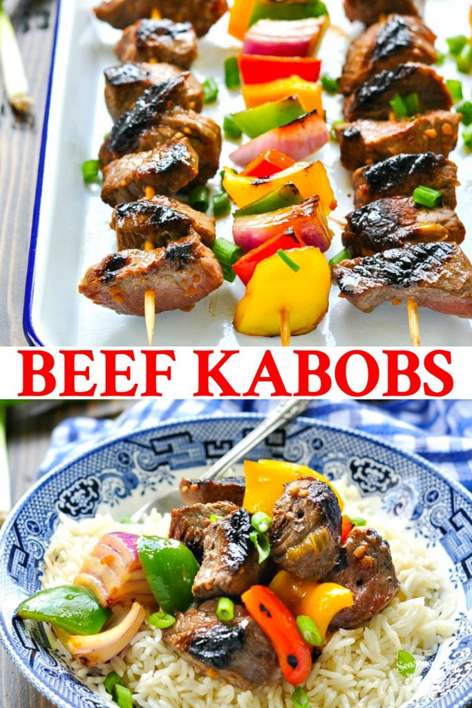Long collage of Easy Marinated Beef Kabobs