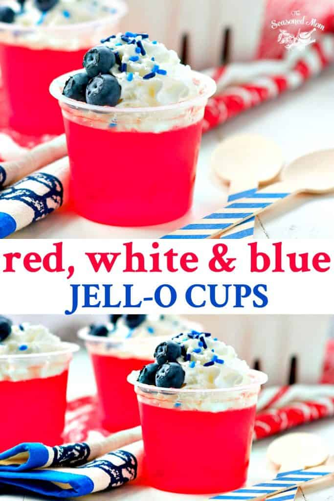 Long collage of Red White and Blue Jello Cups