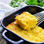 Slice of moist Jiffy Cornbread on a spatula
