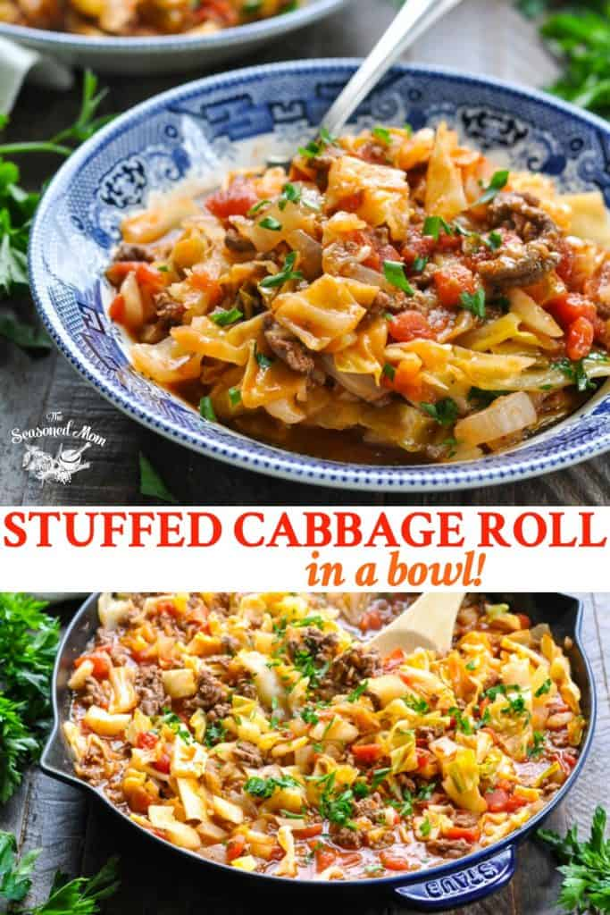 Long collage of Stuffed Cabbage Roll in a Bowl