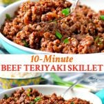 Long collage of beef teriyaki skillet dinner
