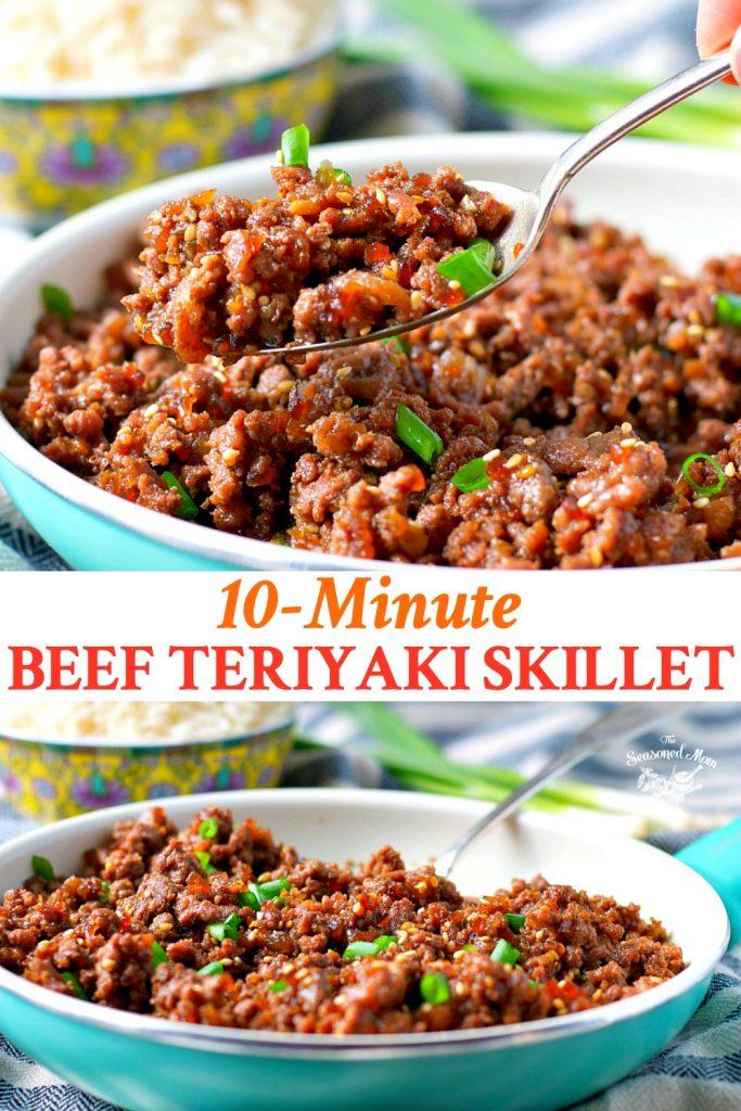 Long collage of beef teriyaki skillet dinner