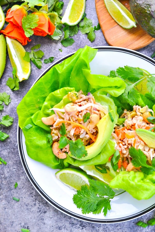 Overhead shot of asian turkey lettuce wraps on a plate