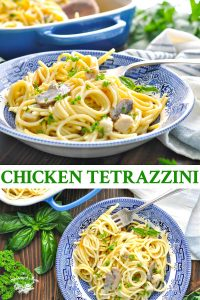 Long collage of chicken tetrazzini recipe
